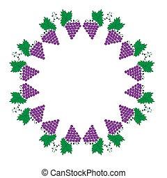 tło, liście, winorośl, ilustracja, winogrona, biały, ułożyć