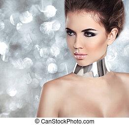 tło., make-up., bokeh, światła, odizolowany, blask, kobieta, skin., portrait., doskonały, fason, makeup., profesjonalny