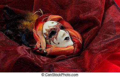 tło, maska, karnawał, czerwony