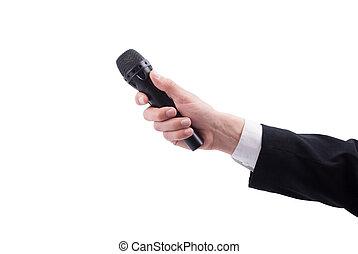 tło., mikrofon, człowiek, biały, ręka