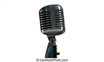 tło, obracający, biały, mikrofon, retro