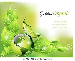 tło, organiczny, zielony