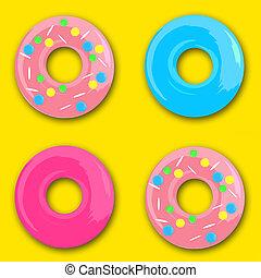 tło, oszklić, błękitny, komplet, różowy, seamless, donuts, żółty