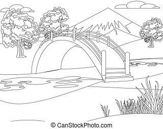 tło., park., ogród, góra, jasny, drawing., style., kolorowanie, japończyk, minimalista, natura, dzieci, płaski, wektor, rysunek
