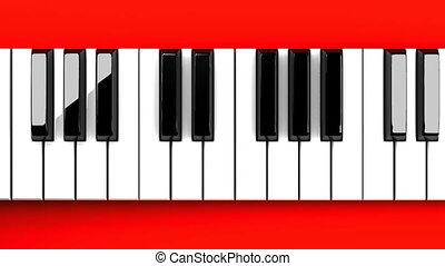 tło, piano, czerwony, klawiatura
