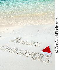 tło, -, pisemny, tropikalny, piasek, wesoły, święto, plaża, boże narodzenie
