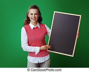 tło, pokaz, odizolowany, czarnoskóry, chalkboard, student, zielony