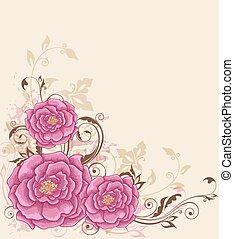 tło, różowe róże