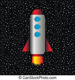 tło, rakieta, gwiazdy, przestrzeń
