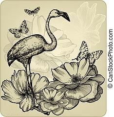 tło, rocznik wina, rozkwiecony, wektor, róże, butterflies., czerwonaki, ptak, illustration.