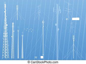 tło, ruchomy, albo, telefon, wektor, radio, baza, wieża, stacja, telekomunikacje