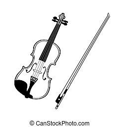 tło., rys, biały, odizolowany, skrzypce