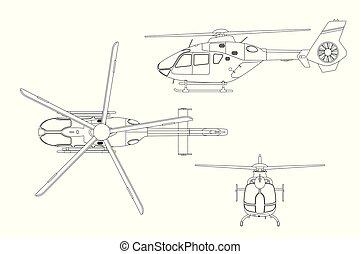 tło., rysunek, przód, biały, bok, plan, górny, helikopter, ...