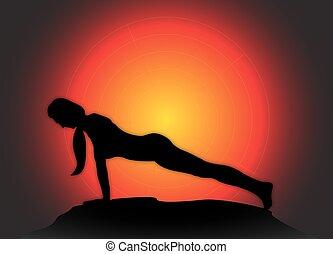 tło, słońce, deska, yoga upozowują