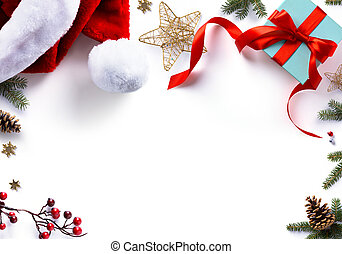 tło, słodki, dar, ozdoby, biały, ferie, boże narodzenie