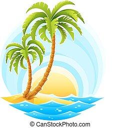 tło, słoneczny, machać, tropikalny, dłoń, morze