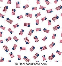 tło, seamless, abstrakcyjny, amerykańskie bandery