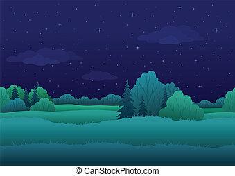 tło, seamless, krajobraz, noc