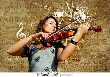 tło, skrzypce, grunge, muzyczny, retro