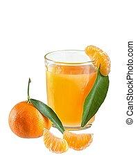 tło, sok, odizolowany, szkło, tangerines, biały