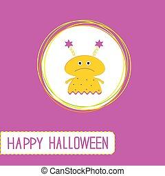 tło., sprytny, szczęśliwy, fiołek, żółty, potwór, rysunek, karta, halloween, girl.