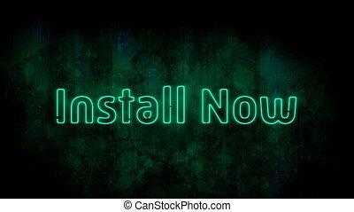 tło, styl, zielony, neon, instalować, teraz, migotanie, ...