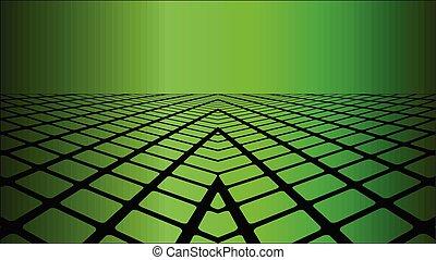 tło, trzy, zielony, wymiarowy