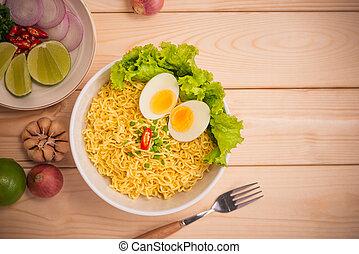 tło, warzywa, jajko, chwila, makarony, urżnięty, drewno, puchar