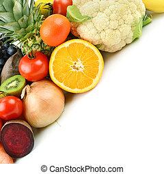 tło, warzywa, komplet, biały, różny, owoce