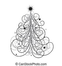 tło, wektor, drzewo, boże narodzenie