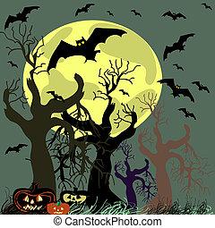 tło., wektor, halloween