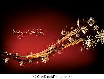 tło., wektor, płatki śniegu, złoty, boże narodzenie