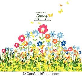 tło, wiosna, motyle