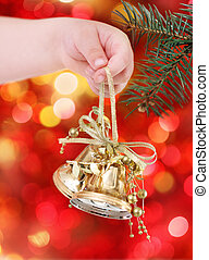 tło złotego, drzewo zapala, ozdoby, boże narodzenie