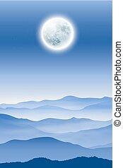 tło, z, fullmoon, i, góry, w, przedimek określony przed rzeczownikami, mgła