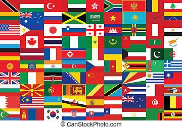 tło, z, jakiś, od, świat, bandery