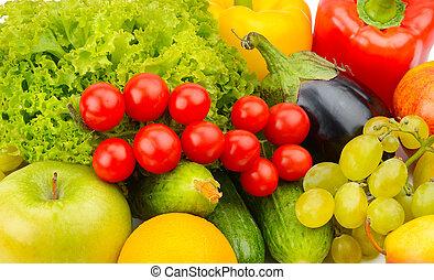 tło, z, komplet, od, warzywa, i, fruits.
