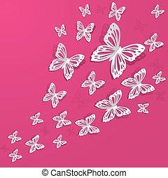 tło, z, motyle