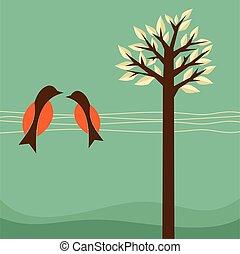 tło, z, ptaszki, i, drzewo