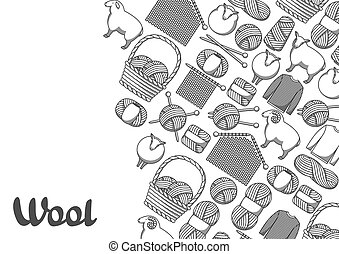 tło, z, wełna, items., towary, dla, ręka robiona, dzianie, albo, krawiec, sklep