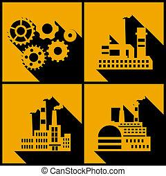 tło., zabudowanie, przemysłowy, fabryka