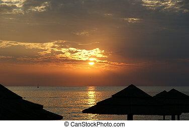 tło, zachód słońca ocean, abstrakcyjny