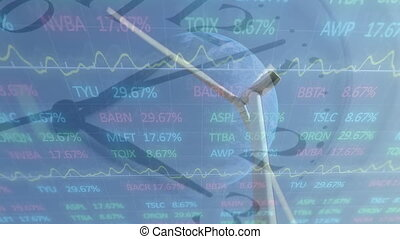 tło, zegar, zamiana, ożywienie, turbina, wykres, wiatr, ...