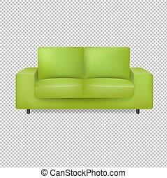 tło, zielony, przeźroczysty, sofa, odizolowany