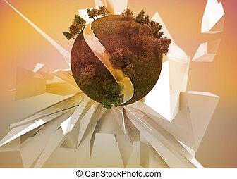 tło, ziemia, przed, abstrakcyjny, ruchomy