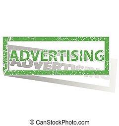 tłoczyć, konturowany, zielony, reklama