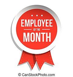 tłoczyć, miesiąc, czerwony, pracownik, etykieta, albo, ...