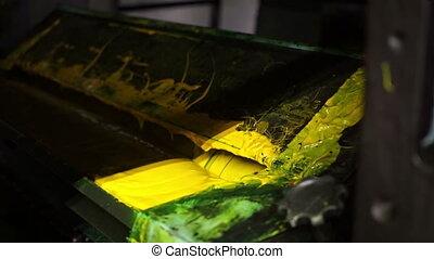 tłoczyć, odrośl, przemysłowy, żółty, atrament