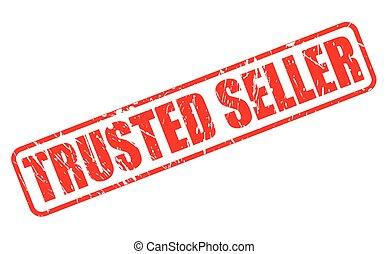 tłoczyć, tekst, trusted, czerwony, sprzedawca