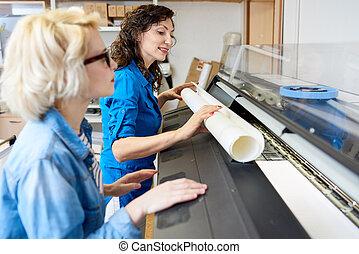 tłoczyć, wymiana, druk, papier, kobiety